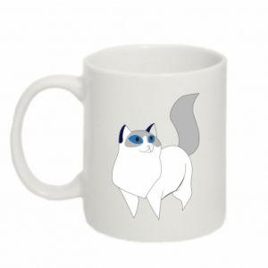 Kubek 330ml White cat with blue eyes