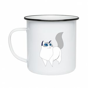 Kubek emaliowany White cat with blue eyes