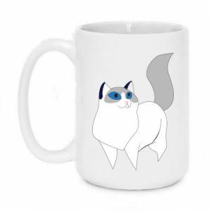 Mug 450ml White cat with blue eyes - PrintSalon