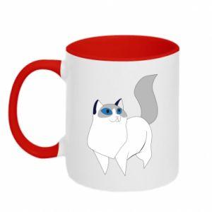 Kubek dwukolorowy White cat with blue eyes
