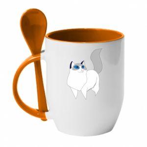 Mug with ceramic spoon White cat with blue eyes - PrintSalon