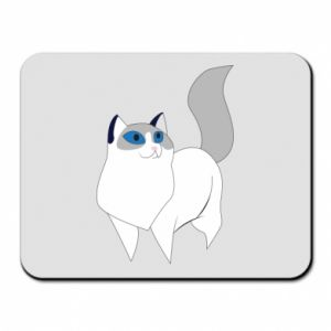Mouse pad White cat with blue eyes - PrintSalon
