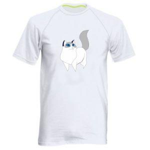 Koszulka sportowa męska White cat with blue eyes