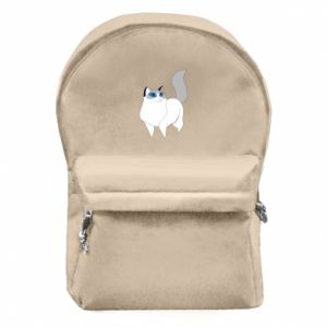 Backpack with front pocket White cat with blue eyes - PrintSalon