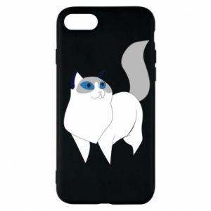 Etui na iPhone 7 White cat with blue eyes