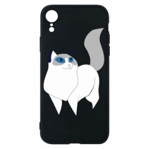 Etui na iPhone XR White cat with blue eyes