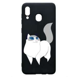 Etui na Samsung A30 White cat with blue eyes