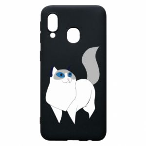 Etui na Samsung A40 White cat with blue eyes