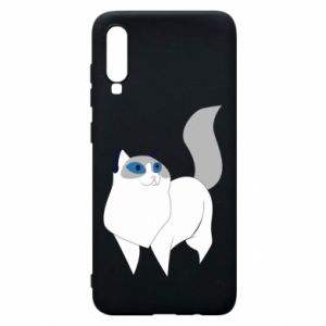 Etui na Samsung A70 White cat with blue eyes