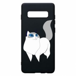 Etui na Samsung S10+ White cat with blue eyes