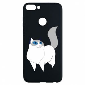 Etui na Huawei P Smart White cat with blue eyes