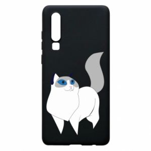 Etui na Huawei P30 White cat with blue eyes