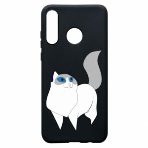 Etui na Huawei P30 Lite White cat with blue eyes