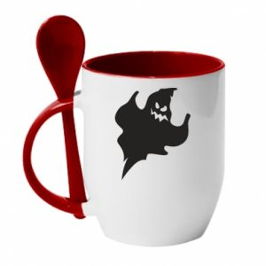 Mug with ceramic spoon Wicked smile - PrintSalon