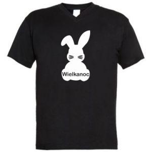 Men's V-neck t-shirt Easter. Bunny