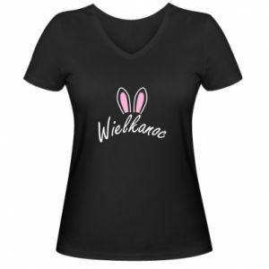 Women's V-neck t-shirt Easter. Bbunny ears