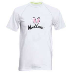 Męska koszulka sportowa Wielkanoc. Uszy królika