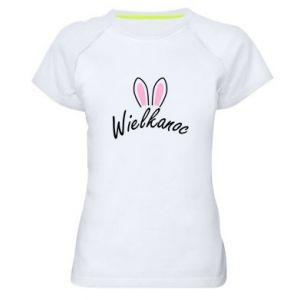 Damska koszulka sportowa Wielkanoc. Uszy królika