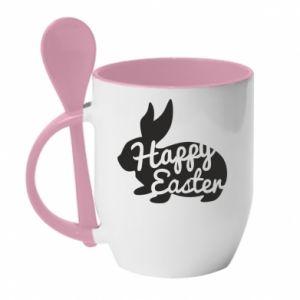 Kubek z ceramiczną łyżeczką Wielkanoc