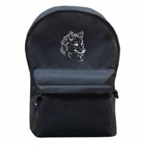 Backpack with front pocket Big evil wolf