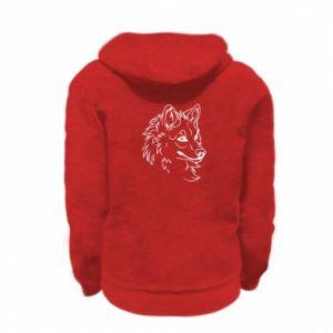 Kid's zipped hoodie % print% Big evil wolf