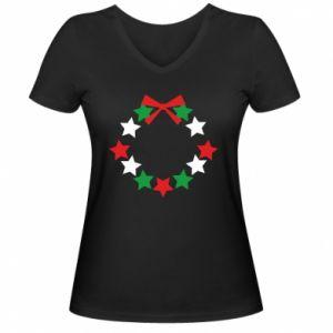 Damska koszulka V-neck Wieniec gwiazd
