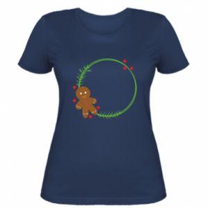 Women's t-shirt Gingerbread Man Wreath