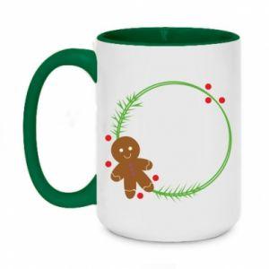 Two-toned mug 450ml Gingerbread Man Wreath