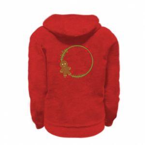 Kid's zipped hoodie % print% Gingerbread Man Wreath