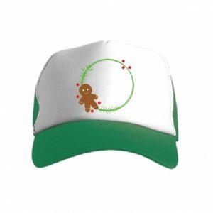 Kid's Trucker Hat Gingerbread Man Wreath