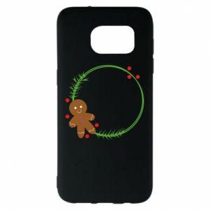 Samsung S7 EDGE Case Gingerbread Man Wreath