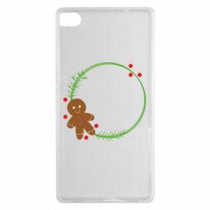 Huawei P8 Case Gingerbread Man Wreath