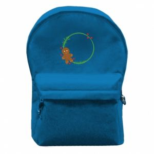 Backpack with front pocket Gingerbread Man Wreath