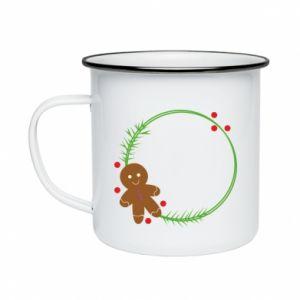 Enameled mug Gingerbread Man Wreath