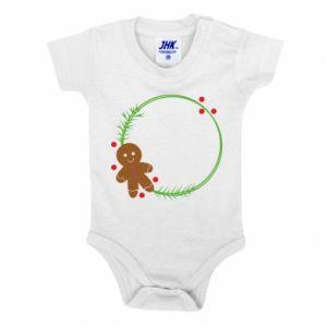 Baby bodysuit Gingerbread Man Wreath