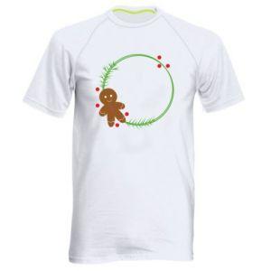 Men's sports t-shirt Gingerbread Man Wreath