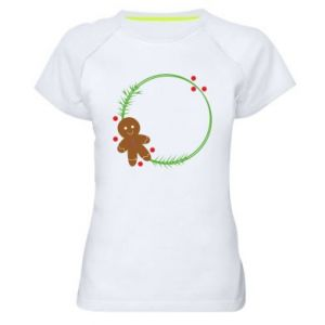 Women's sports t-shirt Gingerbread Man Wreath