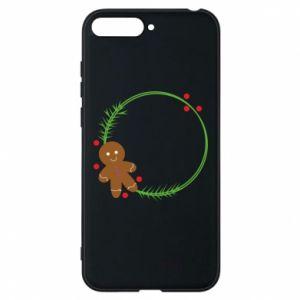 Phone case for Huawei Y6 2018 Gingerbread Man Wreath