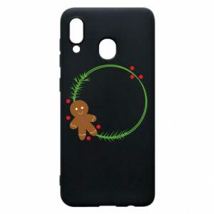 Phone case for Samsung A20 Gingerbread Man Wreath