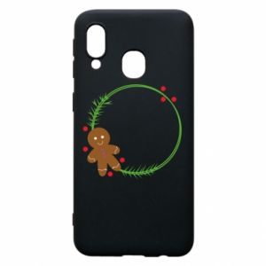 Phone case for Samsung A40 Gingerbread Man Wreath