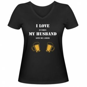 Women's V-neck t-shirt Wife and beer