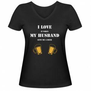 Damska koszulka V-neck Wife and beer - PrintSalon