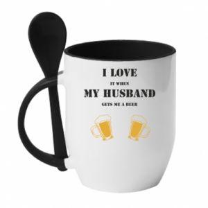 Kubek z ceramiczną łyżeczką Wife and beer - PrintSalon