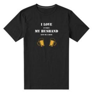 Męska premium koszulka Wife and beer - PrintSalon