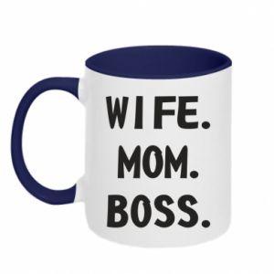 Kubek dwukolorowy Wife mom boss