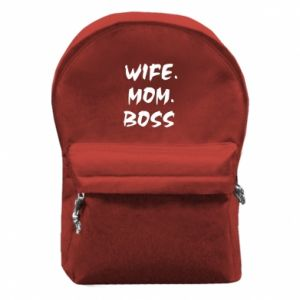Backpack with front pocket Wife. Mom. Boss.