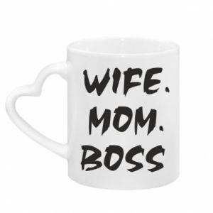 Kubek z uchwytem w kształcie serca Wife. Mom. Boss.