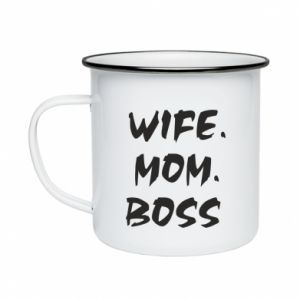 Kubek emaliowany Wife. Mom. Boss.
