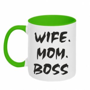 Kubek dwukolorowy Wife. Mom. Boss.
