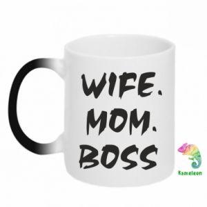 Kubek-kameleon Wife. Mom. Boss.